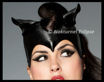 Catwoman Leather Headpiece w/ Curled Cat Ears Superhero Batgirl Batman SDCC Comic Con Cosplay Halloween Costume - Available Any Basic Color