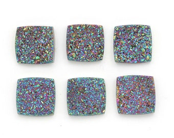 Square Druzy Cabochons | ONE Electric Confetti Blue Square Cushion Druzy Designer Cabochons | Square Druzy 11mm x 11mm