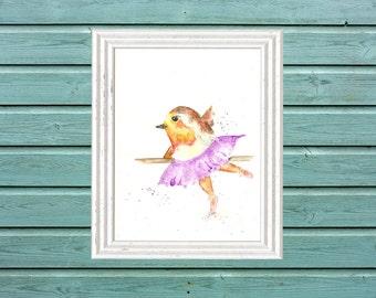Ballet Nursery Art, Bird Print, Original Art Print, Girls Room, Nursery, Tutu, Dancing Bird