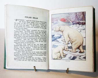 Beasts, illustrated childrens book Antique Hardback colour plates 1920s school book gift