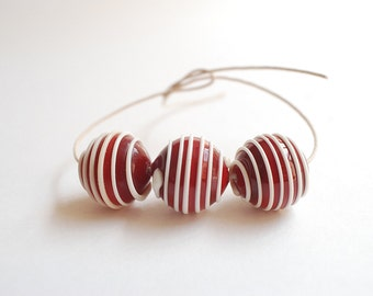Lampwork Glass Beads - Handmade Deep Red lampwork beads with Ivory raised stripes