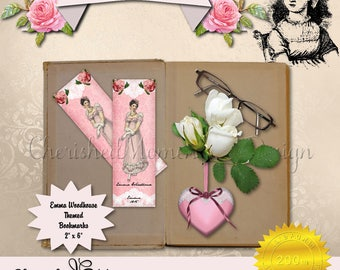 Emma Woodhouse Bookmarks, Jane Austen Inspired theme, Emma, Frank Churchill, Immediate Digital Download, Printable, PDF, Pink, DIY vintage