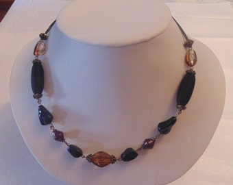 Vintage Brown and Black Beaded Necklace