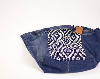 GL Crafts: Upcycled, Handbag, Navy Blue, Denim, Handmade