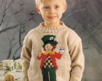 A Pre-Owned Knitting Pattern Leaflet, Mad Hatter Picture Sweater from the Alice in Wonderland knitting pattern collection.