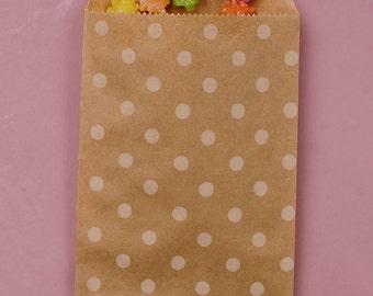 "4"" x 5-3/8"" Kraft Polka Dot Goodie Bags - 25 Quantity"