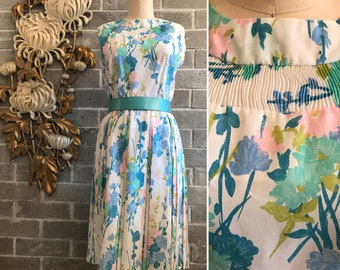 1960s dress vintage dress floral dress sleeveless dress vintage sundress size medium 36 bust pastel dress pleated dress 1950s dress