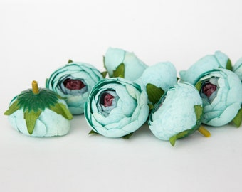 10 Small Vintage Inspired Ranunculus in Mint Blue - silk artificial flower, millinery flower - ITEM 01013