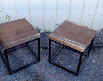 Black Walnut End Table with Metal Cubed Base