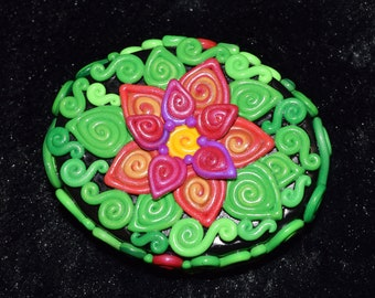Pink and Orange Double Flower Polymer Clay Decorated Box
