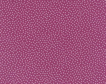 Cotton Quilt Fabric by the yard, Just a Speck Lounge Lizard White by Jen Kingwell for Moda Fabrics, Purple Dot Fabric, 18109 24