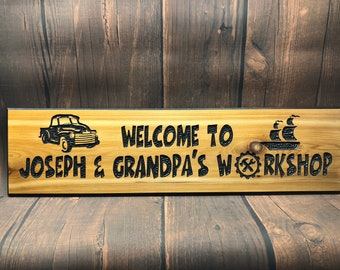 HAND CARVED/Personalized Workshop Wood Sign/Name Wood Carved Sign/Handmade Wooden Sign/Wood Shop Sign/Man Cave Sign/Personalized Garage Sign
