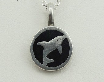 Vintage Sterling Silver and Enamel Dolphin Pendant.  17 Inch Sterling Silver Chain Included! #DOLPHIN-SPC1