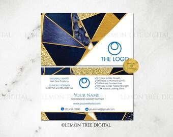 Blue|Gold|Glitter|Monat Business Card|Monat Global|Hair Salon Business Cards