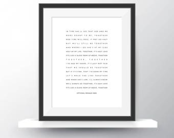 """Mac DeMarco """"Still Together"""" Lyrics Personalised Print (any text/background colour) with Free UK Shipping."""