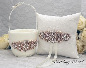 Rose gold flower girl basket, wedding basket and ring bearer pillow, ivory flower girl basket, rhinestone flower girl basket
