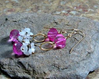 Pink Quartz Moonstone Cluster Dangle Earrings in Gold