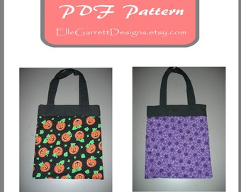 PDF Pattern - Tote Bag 107 Halloween Trick or Treat Bag