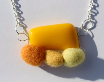 Sunnyside Resin and Felt Pebble Necklace
