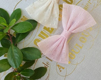 Girls pink and ivory tulle summer bows