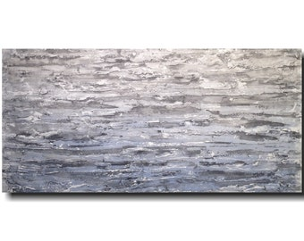 Original Large Abstract blue  painting - 24 X 48 JMJArtstudio mothers day gift