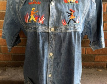 VINTAGE 1970's  Denim Hand Embroidered  LATIN LOVER from Haiti size Medium