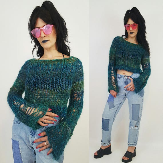 HANDMADE Sheer Knit Sweater - Womens Small Teal Turquoise Grunge Knit- Open See Through Eco Friendly Long Sleeve Fall Autumn Cropped Top