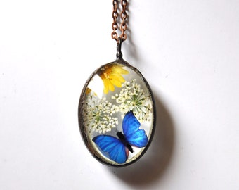 Summer Herbarium, dried flowers and glass, butterfly pendant necklace, copper chain necklace