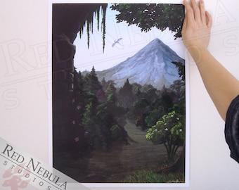 18x24 Fantasy Art Print, Magic Forest Ruin, Flying Dragon, Fantasy Landscape, Fantasy Print, High Fantasy Artwork, Fairytale Forest Path