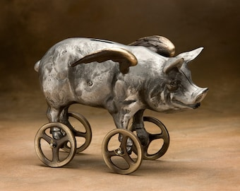 Flying Pig Coin Bank, Cast Aluminum with Bronze Wheels