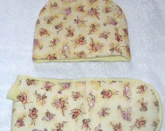 Dancing Flower Fairies on butter cream tea cosy and  oven gloves