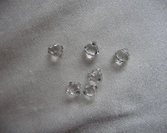 Drop, Swarovski crystal, Crystal Passions, Crystal Clear, 6mm faceted bicone pendant. Sold per pack of 6 beads.