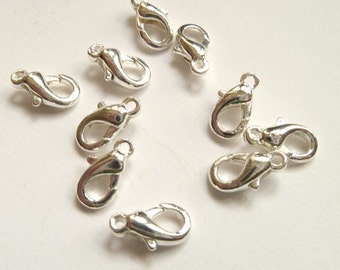 10 Silver Lobster Claw Clasps