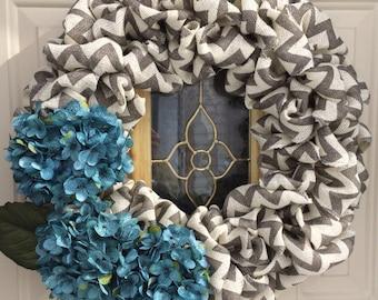 "22"" chevron burlap bubble wreath with hydrangeas"