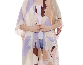 "Women's Floral Kimono Cardigan Lightweight Beachwear Swimwear Cover Ups Sheer Blouse Loose Tops W/ White Hems L38"" (6928)"