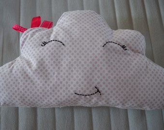 CUSHION cloud pink polka dots