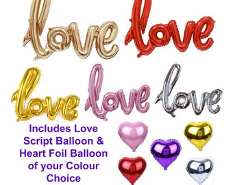 Love Balloons & Love Heart Balloon -  Rose Gold, Red, Silver, Pink, Gold - Wedding Balloons, Engagement Party, Valentines Day
