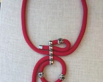 Amazing fushia handmade climbing cord necklace