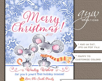 Christmas Card Snowflakes Mouse Christmas Card Printable Christmas Card Cute Holiday Card Mice Watercolor Animals Holiday Greeting Card Mice