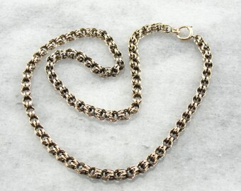 Vintage Double Link, Woven 10K Yellow Gold Necklace EXFTA2-R