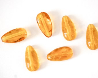 Vintage Acrylic Teardrop Beads with Flat Back Bumpy Front Topaz (6) bds139C