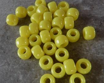 100 Canary Yellow Pony Beads