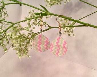 Pink & Pastel Green Chevron Earrings