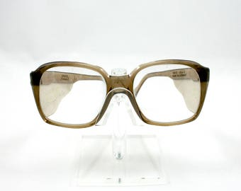 Vintage 1980s Uvex brown safety eye glasses, non prescription, made in West Germany, mens eyewear, optical specs, plastic frame, side shield
