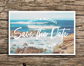 Rocky Coast Wedding Save the Date Postcard // Destination Boho Wedding Beach Save the Date Beach Invitation By the Sea Waves Vintage Card