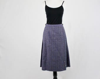1990s Subtle Plaid Scottish Wool Kilt Style Skirt Leather Buckles Skirt Pin