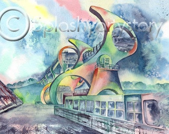 FALKIRK WHEEL SCOTLAND Scottish art print of original watercolour painting Scottish heritage industrial history watercolor