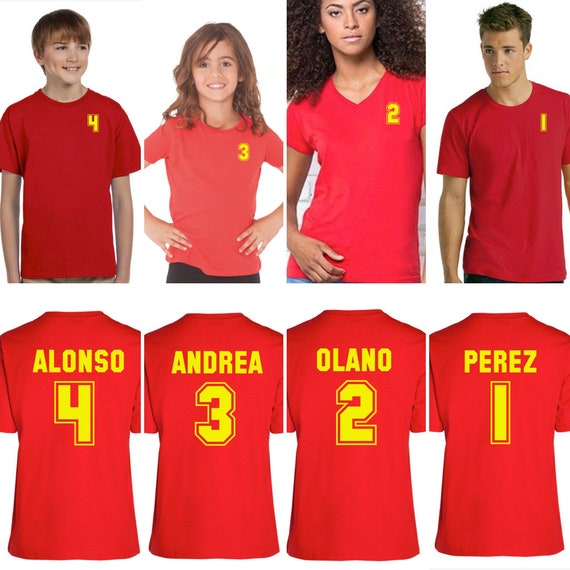 Family t shirts customized with nombre, name or surname