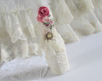 Decorated Bottle, Paris Bottle, Shabby Wedding Decor, French Theme, Rose Bottle