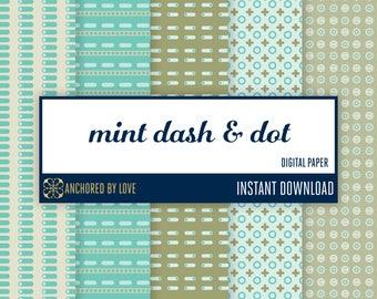 Mint green polka dot scrapbook paper | Polka dot digital paper | Geometric digital pattern paper | Mint green digital paper pack of 5